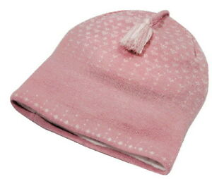100%  Merino Wool Knitted PINK color BEANIE with Duo-tone tassel