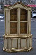 Italian Boroque Style Painted Cabinet With Gold Leaf Trim