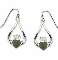 Irish Connemara Marble Claddagh Earrings by J. C. Walsh & Sons #1038