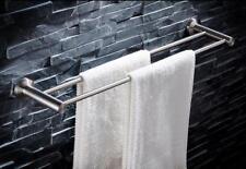 Stainless Steel Brushed Nickel Bathroom Towel Rack Double Rail Holder Wall Mount