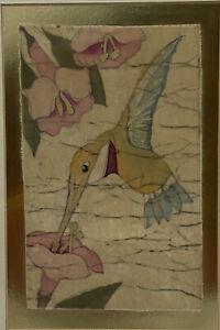 ORIGINAL BATIK PAINTING FLORAL WAX & DYE ON FABRIC JOAN GRAY RUFOUS HUMMINGBIRD