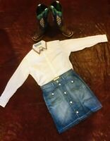 LEVIS DENIM SKIRT Sz 12 Silver tone buttons down the front & on pockets. Great!
