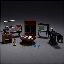Vintage Japanese Dollhouse Furniture TV Sewing Telephone Cupboard Chair Playset