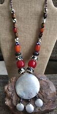 MOROCCAN Tribal NECKLACE Berber Amber Coral Lucite Beads Carved Silver Medallion