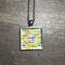 GWERU HARARE ZIMBABWE AFRICA Map Square Pendant Silver necklace vntg ATLAS