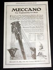 1918 OLD MAGAZINE PRINT AD, MECCANO CONSTRUCTION SETS, TOY ENGINEERING FOR BOYS!