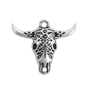 2 Longhorn Pendants Antique Silver Tone Texas Western Charms Stock Show Findings
