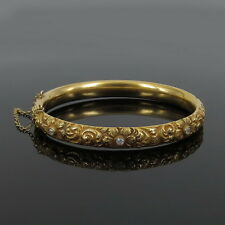 Antique 0.45ct Old Mine Cut Diamond 14K Yellow Gold Decorated Hollow Bangle