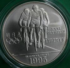 1995 D Olympics Cycling BU Silver One Dollar Commemorative US Biking Coin