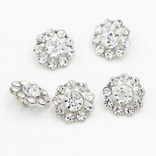 6 Pcs Clear Rhinestone Crystal Flower Silver Shank Buttons Sewing DIY Craft