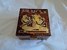 "Egyptian Camel Leather Jewelry Brown Handmade Box Three Dancers 5""X5"" #312"