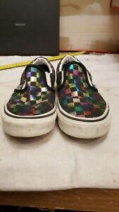 Vans Girls Classic Slip On Sneakers Black 500714 Rainbow Checkered size 3.0 kids