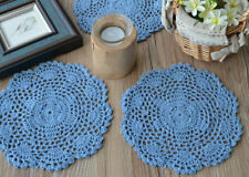 """Lot 6 Hand Crochet 8"""" Round Doilies French Country Sky Blue Wedding Coasters"""