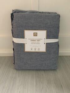 Pottery Barn organic chambray sheet set Twin/twin XL Navy