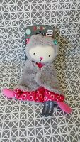 Doudou plat chat ours gris rose fleurs Orchestra Premaman Neuf