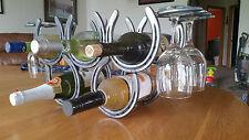 Horseshoe wine rack 5 bottle holder with 4 glass holder