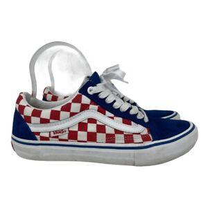 Van's Old Skool~Red/White Checkered~Blue Toe Box~Heel~Size Men's 7~Unisex