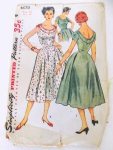 Vintage 50s Simplicity Pattern 4670 Rockabilly Full Skirt Dress 12 Bust 30 Uncut