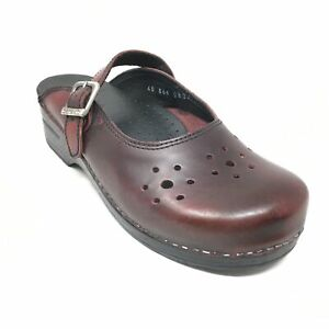 Women's Dansko Mary Jane Mules Clogs Shoes Size 40 EU/9.5-10 US Burgundy Leather