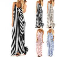 Summer Women's V-Neck Strappy Striped Boho Long Dress Beach Casual Maxi Sundress