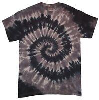 Black Grey TIE DYE T SHIRT Fashion Tye Die Tshirt Festival Retro Rainbow Spiral