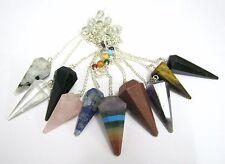 Ten Gemstone Pendulums Quartz Lapis Amethyst Gift Reiki Dowsing Crystal Healing
