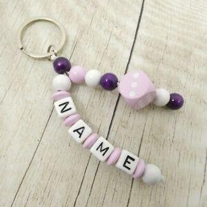 Schlüsselanhänger mit Namen, Würfel rosa, weiß, rosa, lila, Mädchen, Geschenk