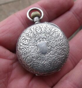 ANTIQUE PRETTY SWISS LADIES SILVER POCKET, FOB WATCH, HAND ENGRAVED.