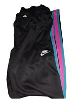 Nike Men South Beach NSW Tribute Knit Track Pants Black Teal Pink AR2246-011 M