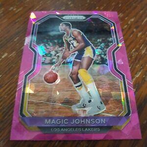 2020-21 Panini Prizm Magic Johnson PINK Cracked Ice Prizm #219 Lakers