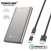 10000mAh Power Bank QC 3.0 Quick Charger USB-C Type C External Portable Battery
