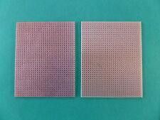 2 PLAQUES CIRCUIT IMPRIME . Plaques d'essai . PASTILLES & BANDES . 80 X 100 mm.