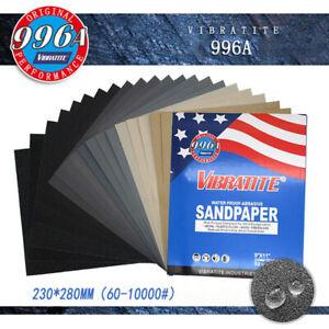 Wet and Dry Sandpaper Sanding Sheet VIBRATITE 60-10000 Grit 230x280mm Sand Paper