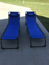 2 KingChamp Adjustable Lounge Camping Folding Cot with Pillow Marks On Frames