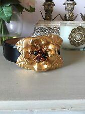 Roberto Cavalli Belt With Gold Flower Buckle!!! $995 Retail