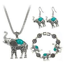 Conjunto de 4 Piesas Elefante Cadena Pulsera y Aretes Para Mujer Joya en Plata