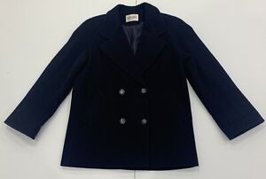 Ladies Size 12 Navy Blue MYER DIRECT Wool Double Breast Coat / Jacket Made AUS