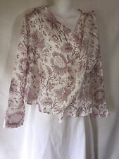 FLAX Airy Linen Wrap Shirt Top Jacket Cardigan Lagenlook White Purple Floral P