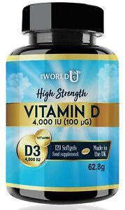 Vitamin D 4,000IU   120 Softgels   Vitamin D3   High Strength   UK SELLER