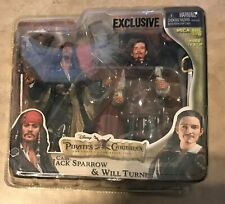 Pirates Of Caribbean Jack Sparrow Will Turner Curse Black Pearl 2 Figure Set NEW