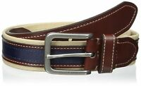 Tommy Hilfiger Men's Khaki/brown/navy Belt Canvas And Ribbon 35mm