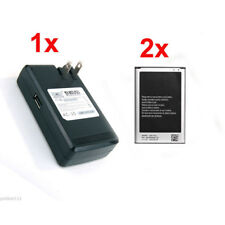 NEW 2x Replacement Battery + 1x Wall Charger For Samsung Galaxy Note 3 III