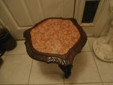 ANTIQUE ELEGANT SIDE TABLE WALNUT CARVED 19th CENTURY HEXAGONAL MARBLE TOP