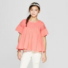 NWT Girls' Embroidered Bell Sleeve Peasant Top