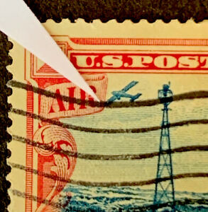 R4/37 US Stamp BOB Airmail C23 EFO Crashing Plane Center Shift Error UH