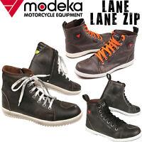 MODEKA LANE und LANE ZIP mit Reißverschluss Motorradschuhe Leder High Sneaker