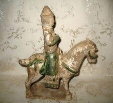 "Ming Dynasty ""SANCAI"" Horse Rider Glazed Ceramic Statuette 14th - 16th Century"