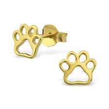 GOLD & Contorno Argento Sterling 925 Orecchini a Perno Paw Print & Confezione Regalo Mini