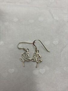 Stirling Silver Rose Drop Earrings