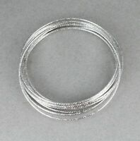 Silver bracelet set pack 10 metal thin skinny narrow stack stackable bangle